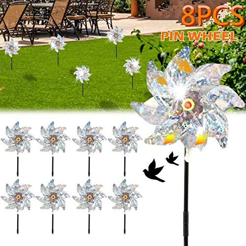 AISE Bird Blinder Repellent PinWheels,8pcs Sparkly Holographic Radium radiation Pin Wheel Spinners for Protect Garden, Orchard, Farm