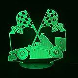 Nachtlicht Batteriebetriebene Lampe 3D Ehrfürchtige Autoflaggen-Farbänderung Für Innendekoration Usb Führte Nachtlicht-Lampe Für Acryljugendlichen