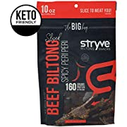 Stryve Biltong | Healthy Keto & Paleo Friendly Air-Dried Beef Snacks | 50% More Protein than Beef Jerky, Gluten Free, Low Carb, Sugar Free, No Nitrates, No Preservatives | Spicy Peri Peri, 10oz