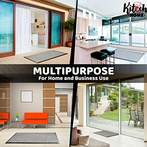 Felpudo Exterior & Felpudo Entrada Casa Interior Antideslizante | Felpudo Entrada Fácil de Limpiar | Alfombra Gris para Recibidores de Entrada | Alfombra Entrada Gris 40x60 cm