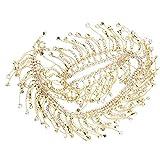 FOLOSAFENAR Cadena de borlas de Diamantes de imitación, para Aplicaciones de Cinturones de Novia, Adornos de Ropa, decoración de Adornos de Vestidos(Golden AB Color)