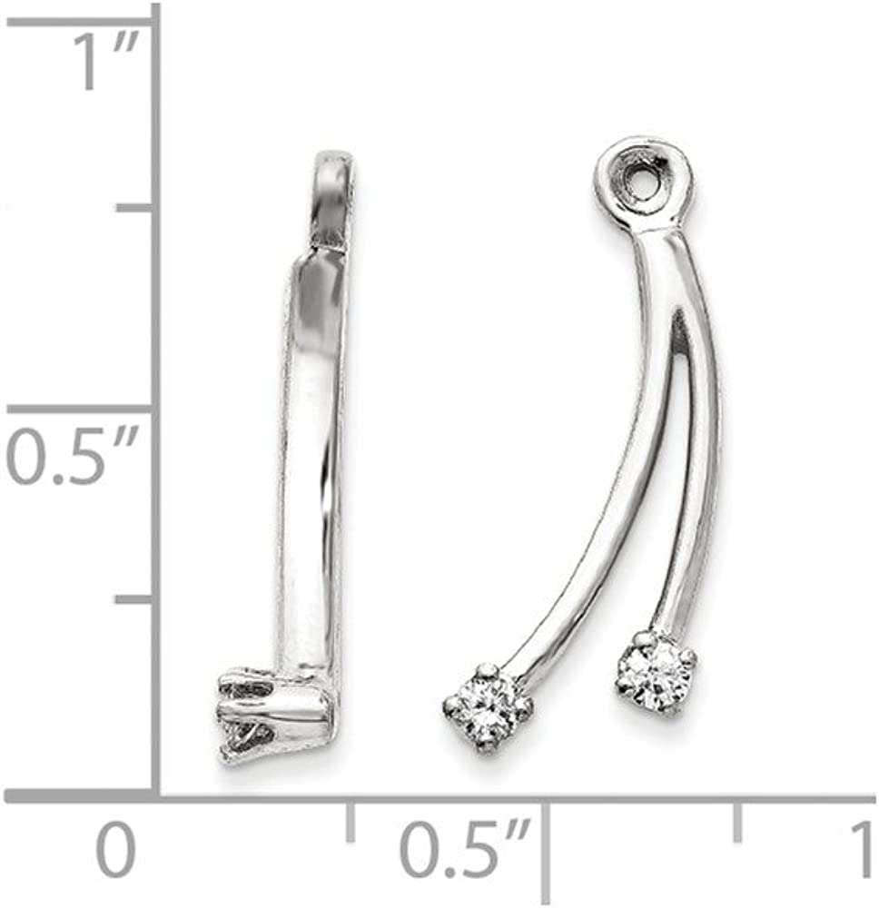 Solid 14k White Gold Diamond earring jacket - 20mm x 9mm (.14 cttw.)