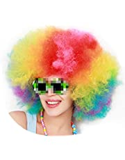 Super Afro Colorful Wig Big Huge Giant 70s Disco Clown Wigs Unisex