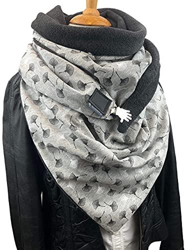 Pusteblume XXL Dreieckstuch, Tuecherfee/Halstuch mit süßen Clip, grauer Fleece/graue Baumwolle mit grau/weißen Pusteblumen, Schal, Wickelschal