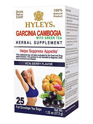 HYLEYS Tea Wellness Garcinia Cambogia Green Tea Acai Berry - 25 bags (100% Natural, Sugar Free, Gluten Free and Non GMO), Acai Berry, 25.0 Count