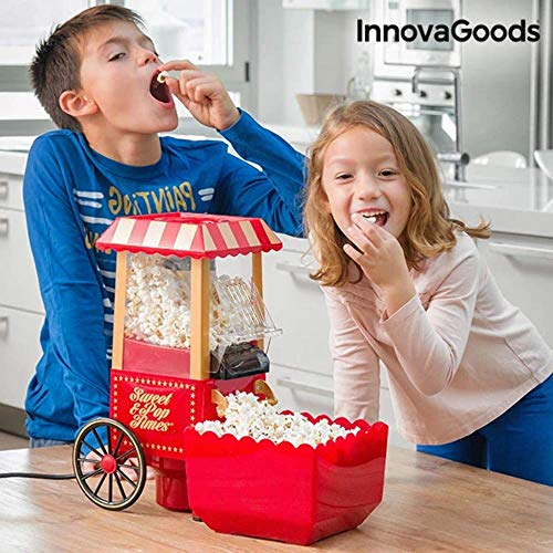 InnovaGoods IG114772 Sweet & Pop Times Machine à pop-corn, 1200 W, Rouge