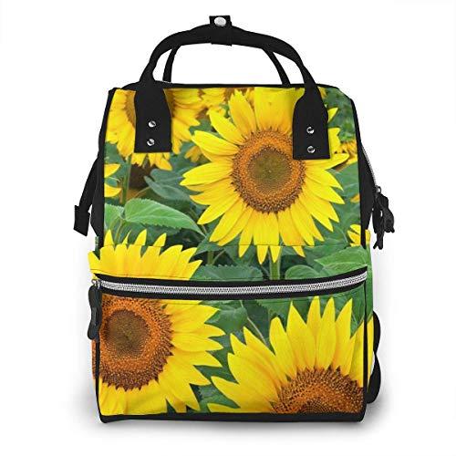 GXGZ Sac à couches pour le champ de tournesols jaune sac à dos pour maman - sac à couches multifonctionnel - tissu Oxford durable imperméable - grands sacs de bébé de voyage