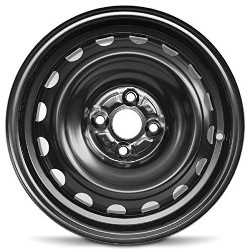Road Ready Car Wheel for 2012-2019 Toyota Prius C 15 inch 4 Lug Black Steel Rim Fits R15 Tire - Exact OEM Replacement - Full-Size Spare