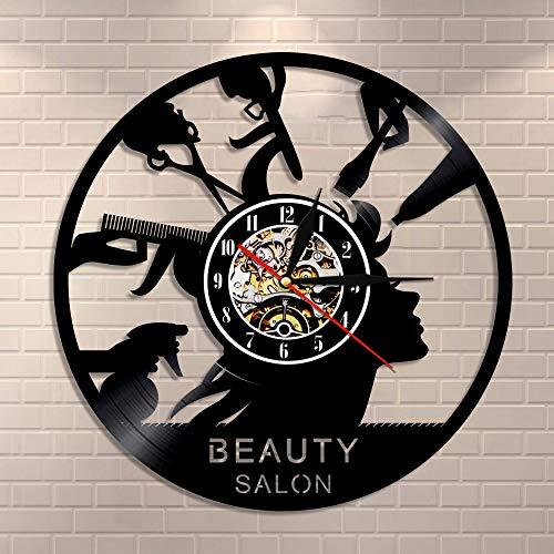 CVG Salón de Belleza Tienda Decoración Maquillaje Reloj de Pared Hecho de Vinilo Disco Peluquería Moderno Reloj de Pared Hair Salonv Regalos para peluqueros