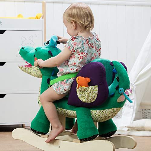 Labebe Baby Schaukelpferd Holz, Schaukelpferd Plüsch, Schaukelpferd Grün Krokodil für Baby 1-11 Jahre Alt, Schaukelpferd Kinder/Schaukel Baby//Schaukeltier Grün/Spielplatz Schaukeltier/Kleine Schaukel - 4