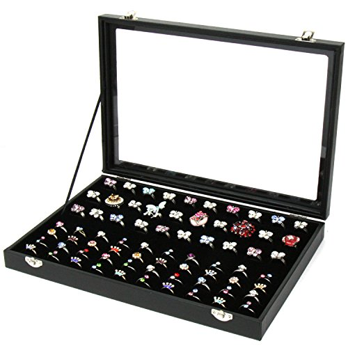 H&S Glass Lid 100 Ring Jewellery Display Storage Box Tray Case Organiser - Black