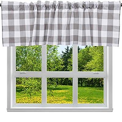 "2 Pack Buffalo Check Plaid Cotton Window Valances White and Grey Farmhouse Design Window Treatment Lined Decor Curtains Rod Pocket Valances for Kitchen/Living Room 16"" x 56"""