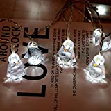 Goutique Outdoor Chandelier Decorative Light Penguin Animal Styling Light String 10 LED 1.65M Outdoor Hanging Lantern Holiday Decoration Home Decor