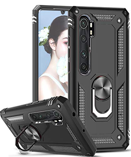 LeYi für Xiaomi Mi Note 10 Pro/Mi Note 10/Mi Note 10 lite/CC9 Pro Hülle,360 Grad Ring Halter Ständer Militär Handy Hüllen Cover Magnetische Schutzhülle für Hülle Mi Note 10 Pro Handyhülle Schwarz