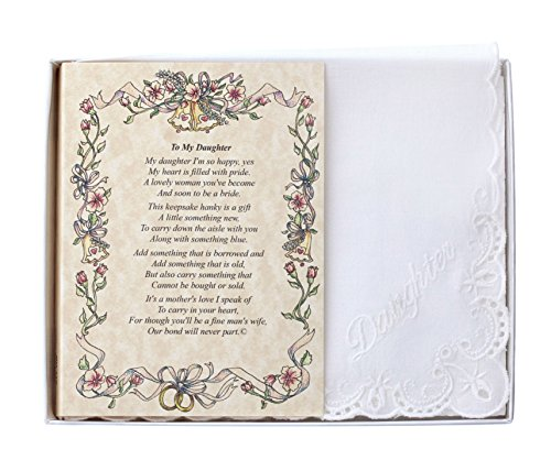 Wedding Handkerchief Poetry Hankie (Mother to Daughter) White, Lace...