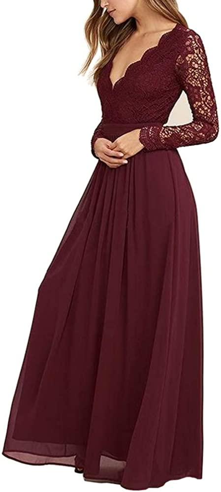 Mathena Women's Long Sleeve Open Back Lace Bridesmaid Dresses Prom Evening Gowns