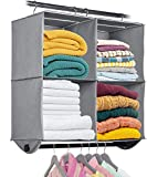 """Hanging Closet Organizer with Garment Rod - 4 Section Heavy Duty Fabric Space Saver for Closets, Easy to Mount, Foldable Closet Storage Shelves, Grey with Black Metal Rod 24""""W x 12""""D x 29.5""""H"""