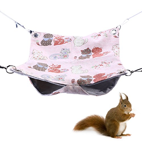POPETPOP Small Pet Animal Hammock Ferret Hammock Bed for Cage Double Bunkbed for Hamster Squirrel Guinea Pig Size S