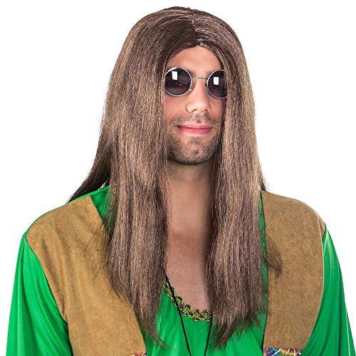 Boland 86369 - Perücke John, braun, Langhaar, Hippie, Mittelscheitel, Flower Power, Rockstar, Karneval, Halloween, Fasching, Mottoparty, Verkleidung, Theater