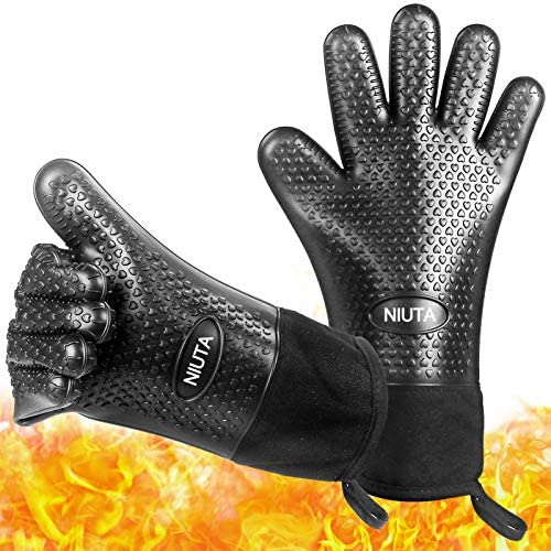NIUTA Grilling Gloves Oven Gloves Heat Resistant Silicone BBQ Gloves Long Sleeve Waterproof product image