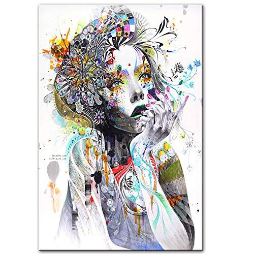 Lienzo Arte de la pared Chica con flores Chica abstracta con mariposaImpresionesmodernasCarteles Imágenes de arte pop para la decoración del hogar de la sala de estar-70x90cm Sin marco