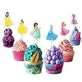 Adornos para cupcakes de princesa, 48 piezas, suministros para fiesta de cumpleaños de princesa, decoración para pasteles de princesa, fiesta de cumpleaños para niños