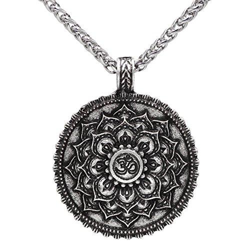 Winged Thor Hammer - Collar vintage de plata envejecida con diseño de flor de loto, amuleto religioso Zen