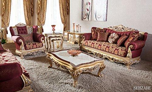 Set classique deluxe pour salon - SEHZADE (1 table basse, 2 fauteuils, 2 canapés). Les couleurs: Or, Blanc, Bordeaux