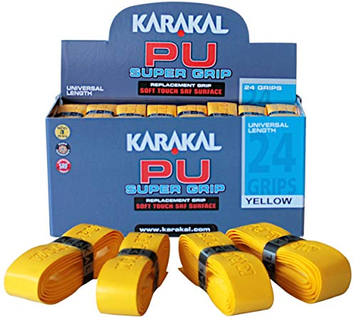 jaune-Tennis-squash 6 x Karakal super PU MULTI remplacement poignées blanc bleu