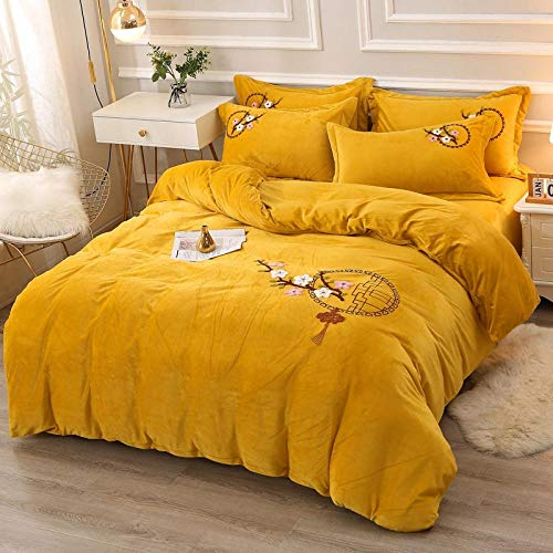 LCFCYY Easy Care Bedding Sets,Warm thick crystal velvet bedding set,bedroom hotel Homestay Embroidered pillowcase solid color sheets U 220 * 240cm(4pcs)