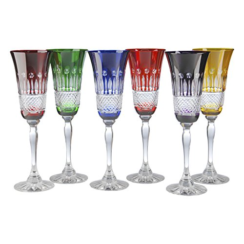 where to buy cristal de paris yvan cristal champagne flutes assorted color set of 6 pamila. Black Bedroom Furniture Sets. Home Design Ideas