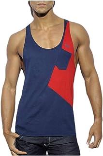 neveraway Men Sports Casual Contrast Crew-Neck Basic Cotton Summer A-Shirt