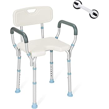 OasisSpace Heavy Duty Shower Chair with Back and Arms 300lb, Bathtub Chair with Handles - Free Assist Grab Bar - Medical Tool Free Shower Cutout Seat for Handicap, Disabled, Seniors & Elderly