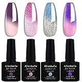Allenbelle Smalto Semipermanente Camaleonte Nail Polish UV LED Gel Unghie (Kit di 4 pcs 7.3ML/pc) 016