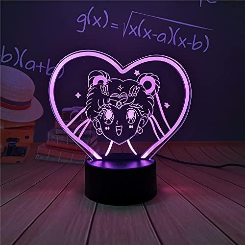 Luz de noche LED, Sailor Moon Anime Lámparas LED Luz de noche para niñas Decoración de dormitorio Sensor táctil Luz de noche Lámpara de mesa LED colorida Regalos Luces de noche LED