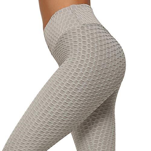 Yogabroek extra zachte legging met zakken voor dames,Dames yoga broek met hoge taille, ademende joggingbroek-Grey_L,Blouse met V-hals