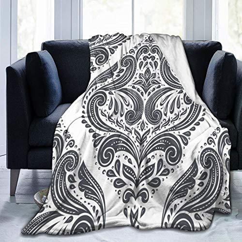 EUlemon Bequeme feine Flanelldecke,Schwarz-Weiß-Elegant Classic Royal Victorian Baroque Elements,Klimaanlagedecke 50 'X 40'