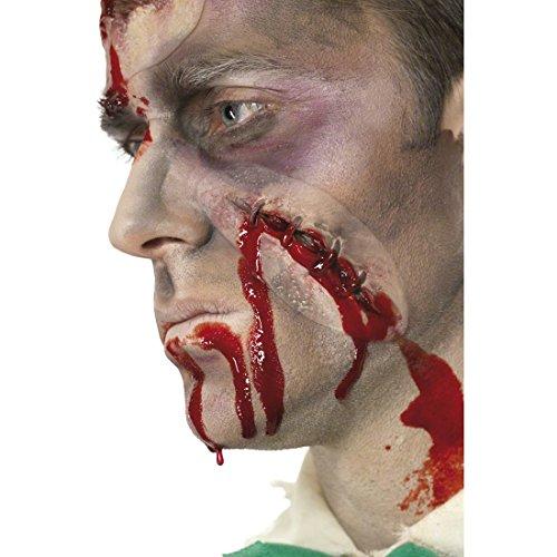 Amakando Maquillage avec du Sang Cicatrice Cicatrices Plaie Artistique ensanglanté Blessure Recousue Halloween Latex Fête Halloween Horreur