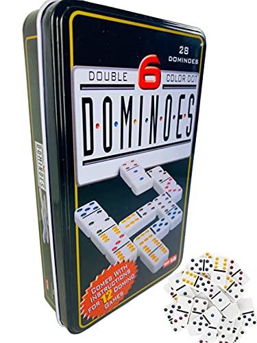 Dominó Juego de Mesa | Domino con 28 Fichas y Caja Metálica | Juego Tradicional para Niños y Adultos | Desarrollo de Habilidades Cognitivas.