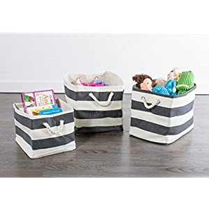 """DII Oversize Woven Paper Storage Basket or Bin, Collapsible & Convenient Home Organization Solution for Office, Bedroom, Closet, Toys, Laundry (Large – 12x16x17""""), Black Rugby Stripe"""