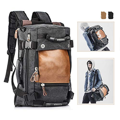 Overmont Vintage Canvas Hiking Backpack mens Daypack Laptop Backpack Large Capacity Shoulder Bag Suitcase Duffle Bag Fits for Laptop under 15 inch for Men/Women