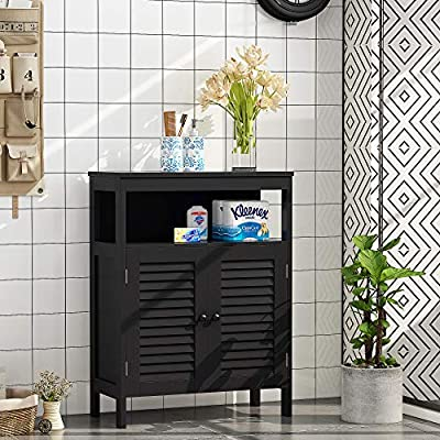 HOME BI Bathroom Storage Floor Cabinet Free Standing with Double Shutter Door (Dark Brown)