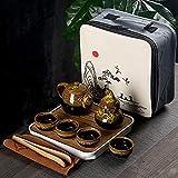 QLIGHA Juego de té de Viaje portátil, Juego de té de cerámica de 9 Piezas Que Incluye Tetera, Tazas de té, Bote de té, Bandeja de té y Bolsa de Viaje, Adecuado para Viajes, Exteriores y Oficina