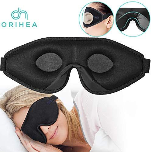 OriHea 3D Schlafmaske Damen und Herren,Premium Schlafbrille mit Innovativem verstecktem Nasenflügel-Design, Blockiert Licht 100{1f1882f73f9262c41319808d6e70213bf042dcabdbe766f70d007c346f5d6e94} Augenmaske, verstellbare Premium Seiden Schaum Augenbinde