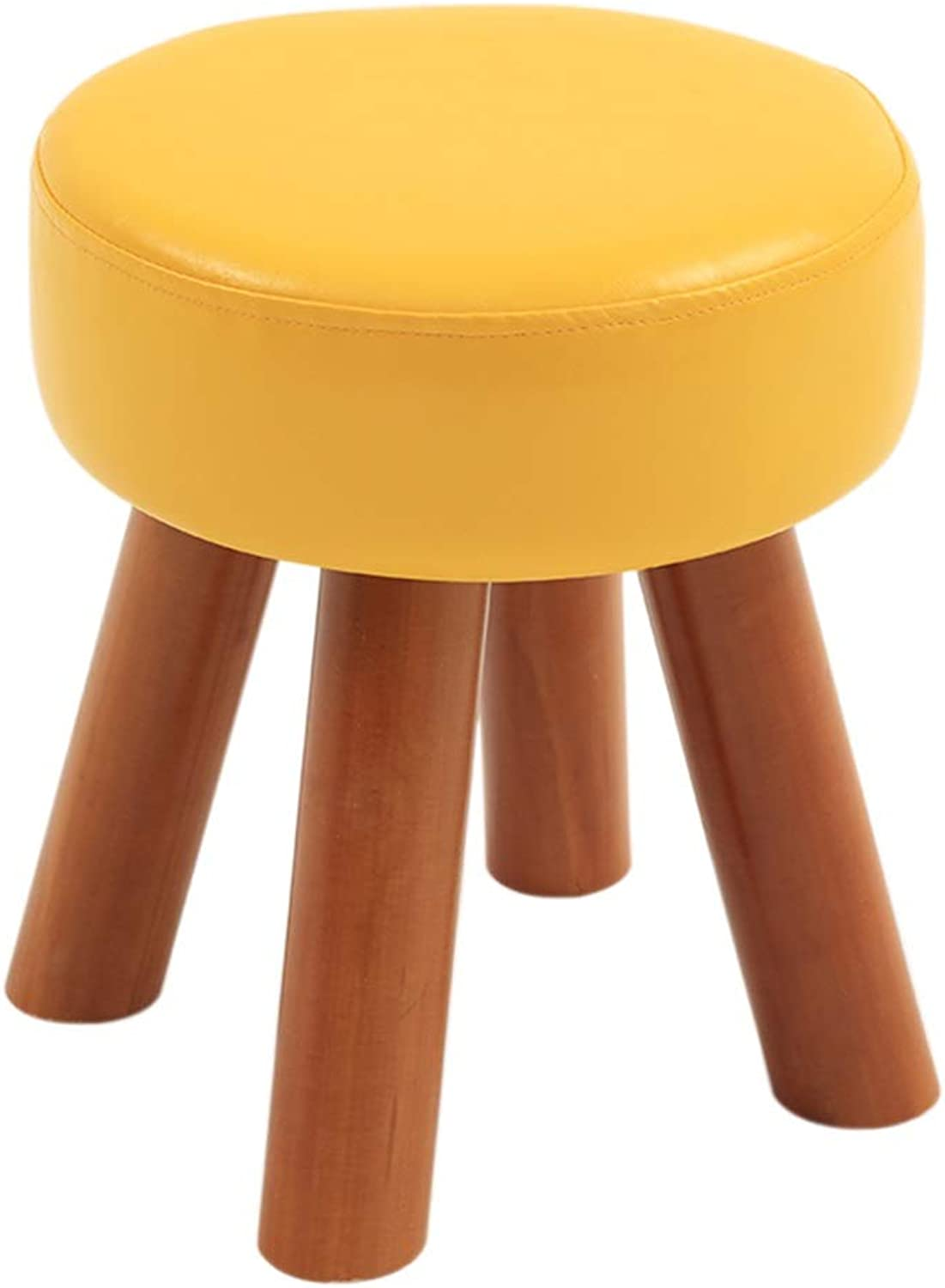 PU Leather Round Stool Household Sofa Stool Solid Wood Footstool Waterproof Change shoes Bench Width 28 × Height 32 cm GW (color   Yellow)
