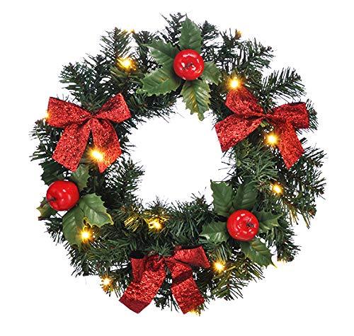 Bambelaa! Weihnachtskranz LED Türkranz Weihnachten Beleuchtet Batterie Timer Deko Kranz Mit Schleife Weihnachtsdeko Ca. 30 cm