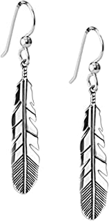 American West Sterling Silver Feather Dangle Earrings