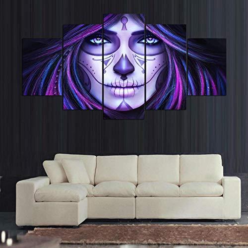 WJY 5 Paneles Lienzo Impresiones Catrina Pintura Halloween Lienzo Pintura Cartel decoración del hogar Arte de la Pared para Sala de Estar 30x45cm-2p 30x60cm-2p 30x75cm-1p No Frame