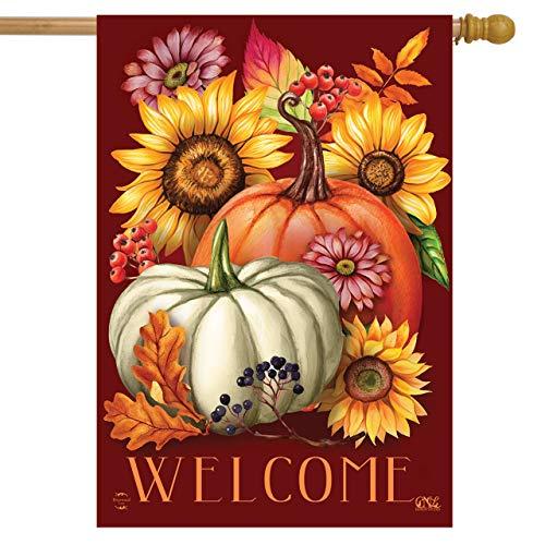 Briarwood Lane Fall Beauty Floral House Flag Welcome Autumn Pumpkins 28' x 40'