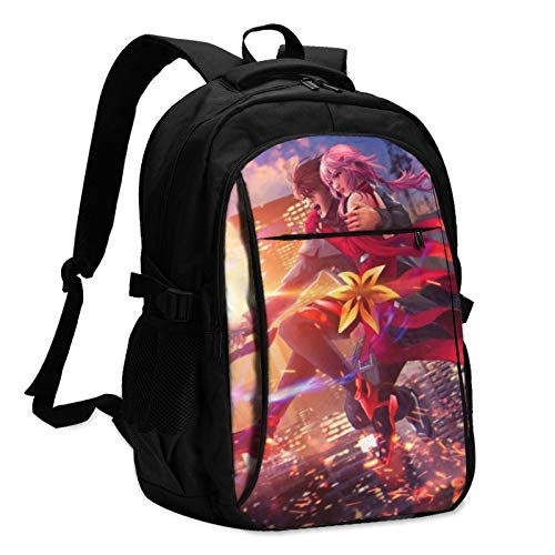 Anime Guilty Crown Laptop Backpack Anti Theft Water Resistant Durable Computer Bag USB Charging Port Fits 15.6 Inch Laptop and Notebook College School Business Travel